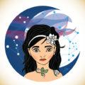 Blue night's girl – Illustration vectorielle à partir d'un croquis